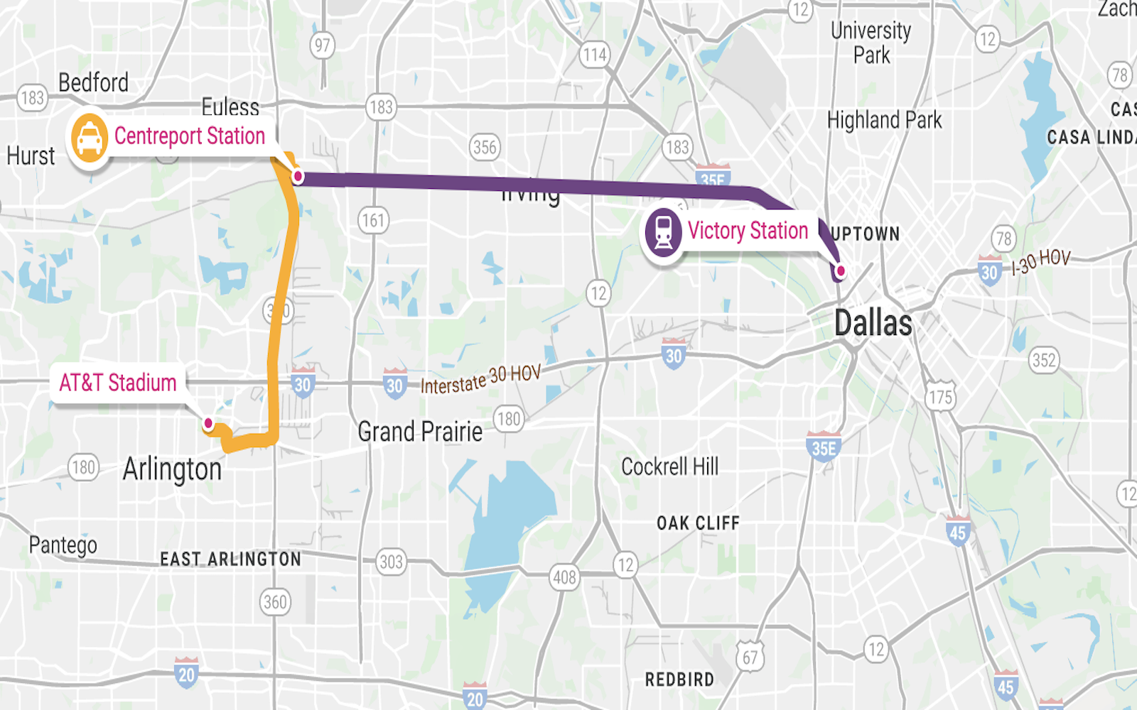 map - public transport to Arlington from Dallas, tx